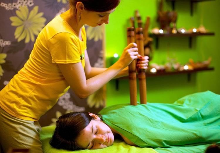 Работа торцами бамбуковых палочек
