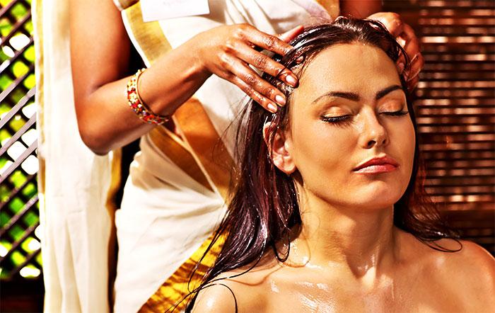 Массирование волосистой части головы