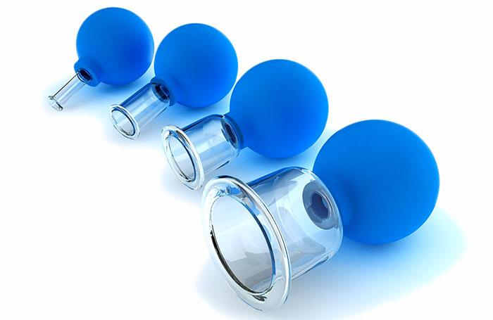 Стеклянные банки с резиновой грушей для массажа