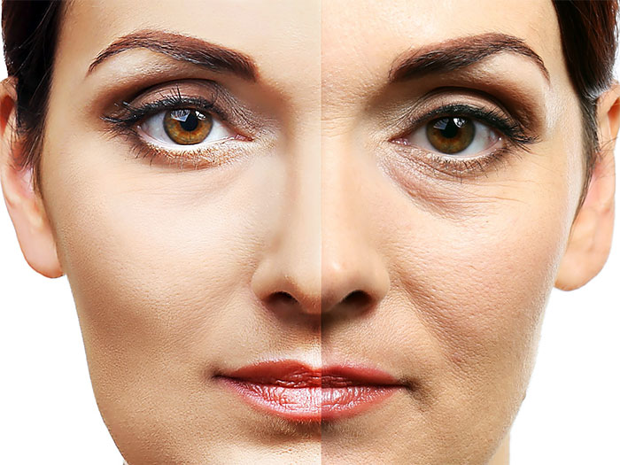 Лицо до и после массажа