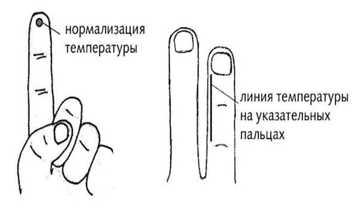 Точка и линия температуры на пальцах руки