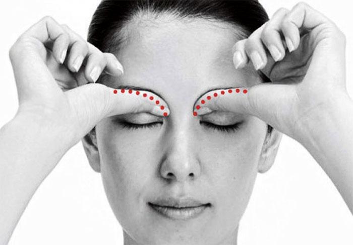 Воздействие на верхнюю границу глазницы